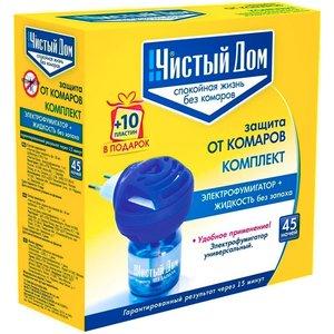 Комплект от комаров Чистый дом 45 ночей, Электро-Фумигатор + жидкость без запаха + 10 Пластин