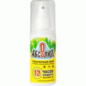 Абсолют Репелентный Спрей от комаров, клещей, слепней, мошек, 50мл