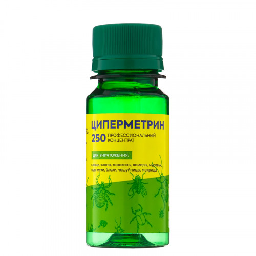 Циперметрин 250 Средство от насекомых клопов, тараканов, клещей, ос, мух, комаров, 50 мл