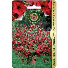 Семена цветов Петуния Гигантская каскадная Тайфун F1 Ред Велюр, 5 сем.